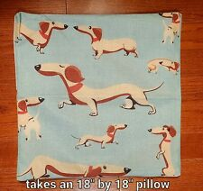 """New Dachshund Pillow Cover (takes a 18"""" by 18"""" pillow); linen accent doxie"""