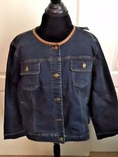 Chico's NWT/   Denim  jacket/ faux leather trim /sz 3