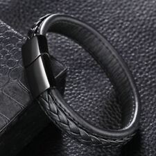 Leather Wrist Band Stainless Steel Real Bracelet Magnet Braided Wide Men's Black