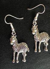 CUTE ZEBRA  ANIMAL DROP EARRINGS TIBETAN SILVER  Silver plated hooks in Gift Bag