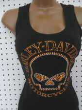 S nwt HARLEY DAVIDSON *Stretchy Rib Willie G Skull Orange Bling* Tank Top Shirt