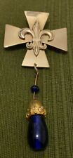 With Deep Blue Dangle Glass Brooch Fab Glod Tone Fleur De Lis/lys Maltes Cross