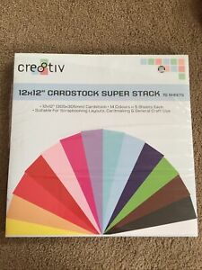 "12x 12"" CARDSTOCK SUPER STACK 14 Colours 70 Sheets Scrapbooking/Cardmaking NEW"