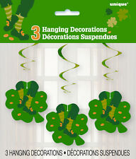 ST PATRICK'S DAY PARTY SUPPLIES 3 x ST PAT'S JIG HANGING DECORATIONS