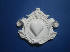 DECORATIVE ORNATE CENTER MOULDING FIRE PLACE MIRROR FURNITURE WHITE RESIN
