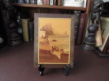 Vintage Wooden Wall Art - Marquetry Plaque - Shore Scene -