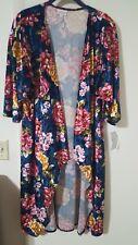 LulaRoe Elegant Velvet Floral Shirley Medium Navy Blue Background NWT Unicorn 🦄