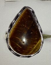 Authentic Polished Tear Cut Tiger Eye Handmade Silver Overlay Ring - Size P