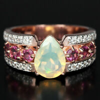 NATURAL AAA RAINBOW OPAL TOURMALINE & WHITE CZ STERLING 925 SILVER RING SIZE 7.5