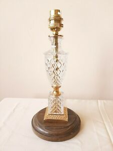 Small cut glass and yellow metal wood pedestal vintage table lamp, PAT tested.