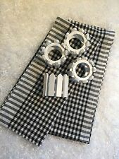 Lot of 2 Cotton Dish Towels and 4 White Picket Fence Napkin Holders