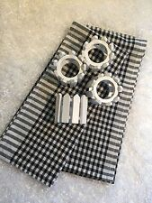 Lot of 2 Cotton Dish Towels and 4 White Picket Fence Napkin Holders  #D