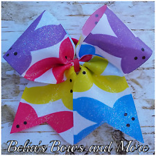 Easter Peeps cheer style hair bow GLITTER FINISH