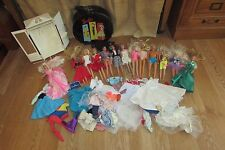 13 Vintage Barbie Dolls, Clothes, Carrying Case, Wardrobe/Closet #2533