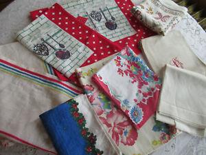 Vintage Kitchen Towels Tea Towels Lot Of 10 Linen & Cotton Towels