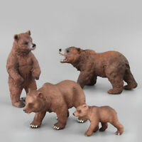 4Pcs Brown Bear Figurine Wild Animal Figure Model Toy Collector Decor Kid Gift