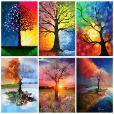 Unframe Oil Painting By Numbers Set Tree DIY Handicraft Coloring By Numbers Land