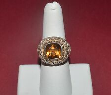 SAMUEL B BENHAM BJC STERLING SILVER 18 K GOLD AND NATURAL CITRINE RING SIZE 7