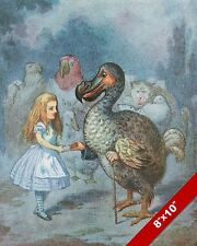 ALICE IN WONDERLAND & THE DODO BIRD LEWIS CARROL CANVAS PAINTING ART PRINT