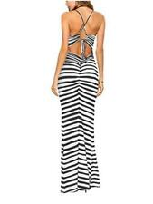 Famulily Women's Sexy Bodycon Backless Striped Long, Multicoloured, Size Large T