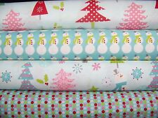 4 Fat Quarters Bundle of CHRISTMAS BASICS in Blue by Riley Blake - 1 yard total