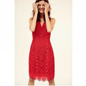 ANTHROPOLOGIE $148 Maeve Camari Red Lace Lined Pencil Dress Size 14