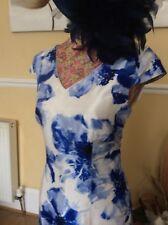 Jacques Vert Blue Ivory  Shantung Wiggle Dress Size 10 Bnwt HAt Xtra Hols 9.5