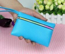 Womens Coin Purse Ladys Long Handbag Wallet Phone Bag Blue with Wrist Strap