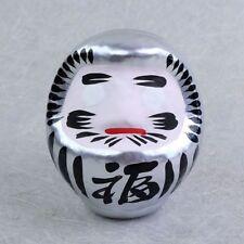 Daruma 9 cm, silber, japanische Glücksfigur, Symbol für Ausdauer