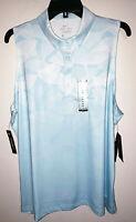 Womens Nike Golf Dri-Fit Sleeveless Light Blue Polo Golf Shirt New NWT XL $60