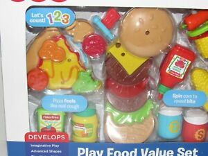 Fisher Price PLAY FOOD Value Set 33 Pieces Pretend Kitchen Food NEW