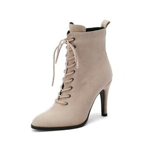 Women Pointy Toe Lace up Stilettos High Heel Ankle Boots Sexy Party Shoes 43 L