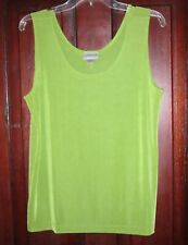 Chico's Travelers New Sz 3 L XL Contemporary Tank Top Shirt Slinky Stretch Green