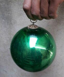 Vintage Big Green Color Kugel Original Brass Cap & Ring Heavy Glass