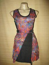 New Spun Polyester hippy BOHO Black w/swirl design Dress size 8