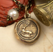 Wisdom Stag Buck Deer Heraldic Charm Pendant Necklace Antique Wax Seal Jewelry