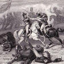 Gravure XIXe Bataille de Saalfeld Napoléon Bonaparte Maréchal Lannes Prusse 1839