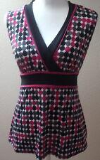 maurices top blouse medium m womens sleeveless black pink gray polka dot print