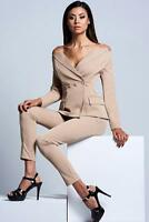 New ASILIO Right Off The Beat Tan Stretch Off-Shoulder Fitted Blazer Jacket AU8