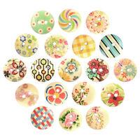 KE_ CG_ 100 Pcs Mixed Multicolor 2 Holes Wood Sewing Buttons Scrapbooking 15mm