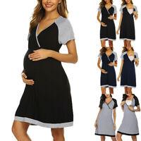 Women Maternity Short Sleeve V-neck Nursing Nightdress Breastfeeding Dress