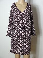 PROMOD Kleid Gr. 38 rosa-brombeer knielang Retro Muster Stiefel Hüft Kleid NEU