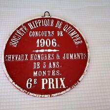 Jolie plaque Concours Hippique QUIMPER Chevaux hongres & juments 3 ans monté1906