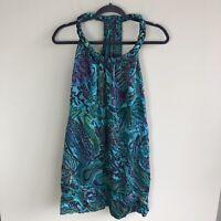Calypso St. Barth Women's Size XS Braided Neck Sleeveless Silk Dress Multicolor