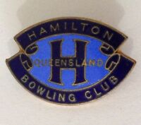 Hamilton Queensland Blue Bowling Club Badge Pin Vintage Lawn Bowls (L35)