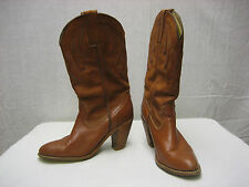 Vintage Frye Tan Brown Leather Cowgirl 7.5 B Made in USA Rare Nice Boots 7075