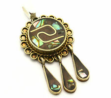 Sterling Silver/925 Mexico Abalone & Black Onyx Dangle Pendant