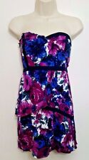 Kimchi Blue Dress S Purple Strapless Floral Sweetheart Mini Tiered Ruffles UO