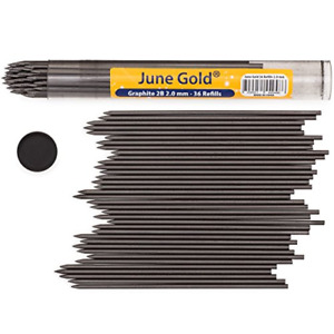 June Gold 36 Lead Refills, 2.0 mm 2B, Extra Bold Thickness, Break Resistant Lead
