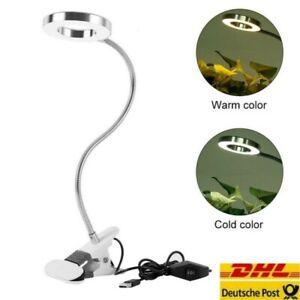 LED Klemmleuchte dimmbar Schreibtischlampe Leselampe flexibel USB Tisch-Lampe DE